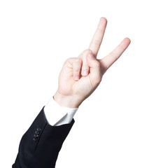 Businessman hand giving the victory or peace sign