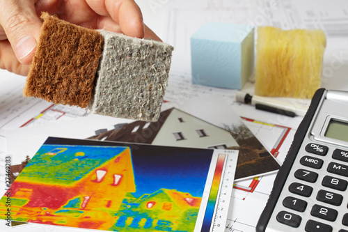Leinwanddruck Bild thermal imaging and insulation materials