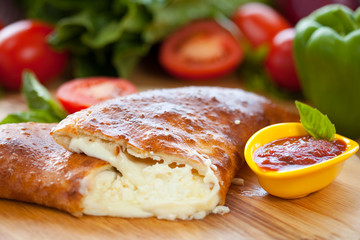 Mozzarella Calzone with marinara sauce