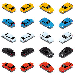 3D colorful cars vector in all direction