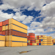 containers in logistic harbor
