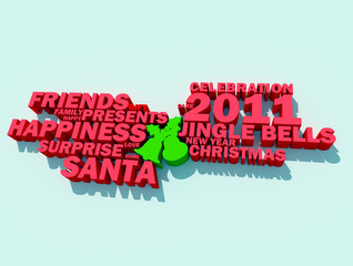 A collage of 3d words on the topic of Christmas