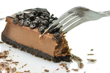chocolate cheesecake with fork