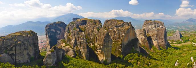 Group of huge rocks near Kalabaka town at Meteora, Greece