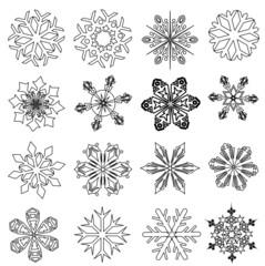 Schneeflocken / eiskristalle / schwarzweis