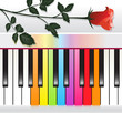 piano with multicolored keys and red rose