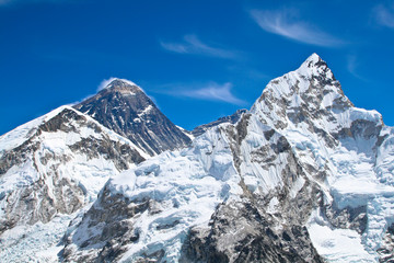 Everest and Lhotse mountain peaks view from Kala Pattar, Nepal