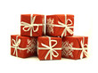 Red patterned gifts on white background