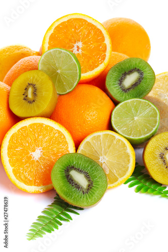 Fresh tropical fruits isolated on a white background (kiwi, oran