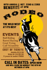american rodeo cowboy bull riding poster
