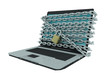 laptop computer with chains on screen