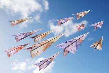 euro bill paper plane