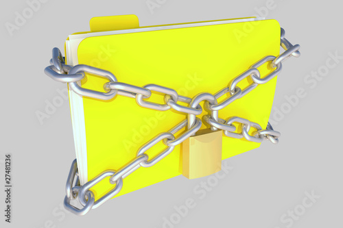 folder with lock and chains, on grey background for easy cut