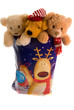 cuddly toys in a christmas sack