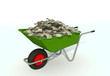 wheelbarrow filled with dollar bills
