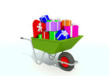 wheelbarrow full with gifts