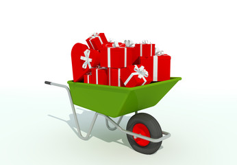 wheelbarrow filled with gifts