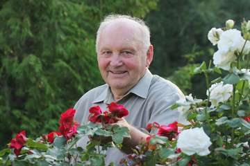 Portrait of grower of roses