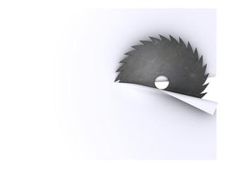 circular saw blade cuts sheet of paper