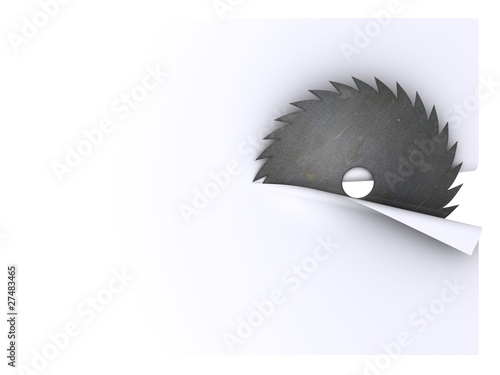 circular saw blade cuts sheet of paper