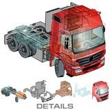 Vector semi-truck infographics cutaway poster