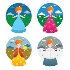 Queens of four seasons. Illustration set.
