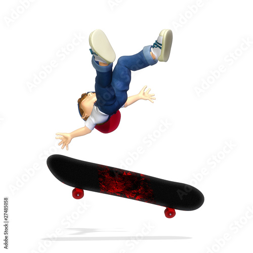nice boy cartoon skate pose falling