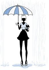 woman under rain holding umbrella and dog pet chihuahua