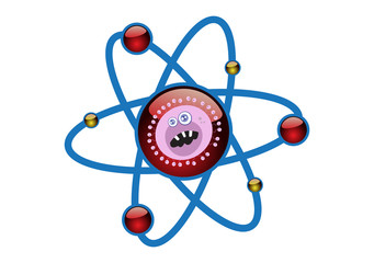 Virus in an Atomic Cell Structure Concept Illustration in Vector