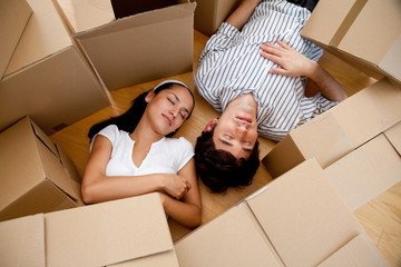Couple tired of packing