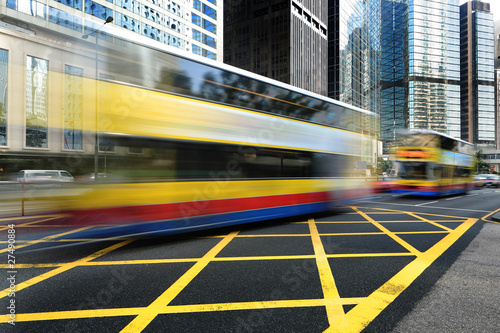 Bus speeding through the street