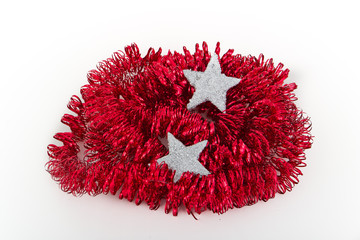 christmas silver decoration with tinsel