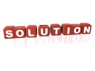 Red building blocks spelling out SOLUTION