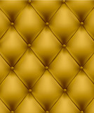 Yellow button-tufted leather background. Vector.