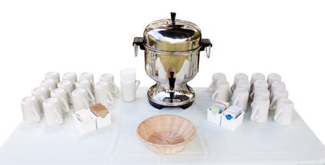 coffee urn and cups - coffee station