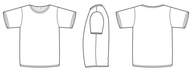 Basic unisex T-shirt template vector illustration.