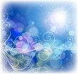 vector floral ornament, blue sky & fiery ray of lights