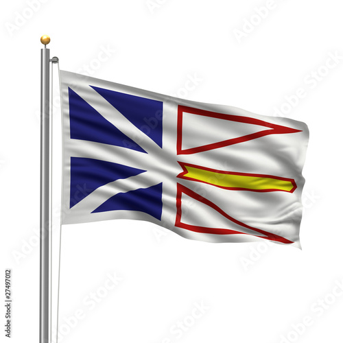 Flag of Newfoundland and Labrador waving in the wind