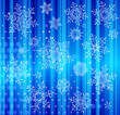 set of snowflakes falling on background of twinkling lights