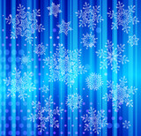 set of snowflakes falling on background of twinkling lights poster