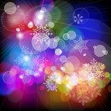 snowflakes falling on background of twinkling lights poster