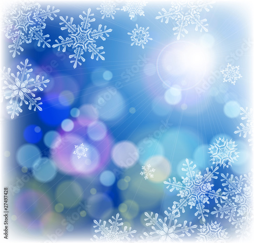 snowflakes & blue background