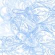 floral wallpaper - blue vector vintage ornament