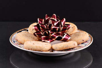 Pretty Holiday Bow on Top of Cookies