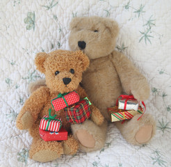 teddy bears with Christmas presents