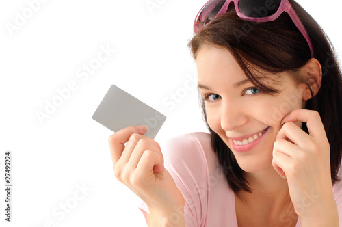 Cute girl with credit card