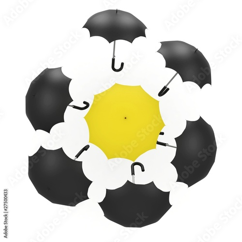 3d umbrella black and yellow