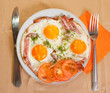 breakfast with fried eggs. Stages of cooking see in series