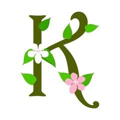 Plant font type, letter K