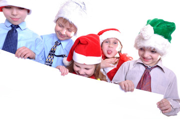 Christmas children with a banner